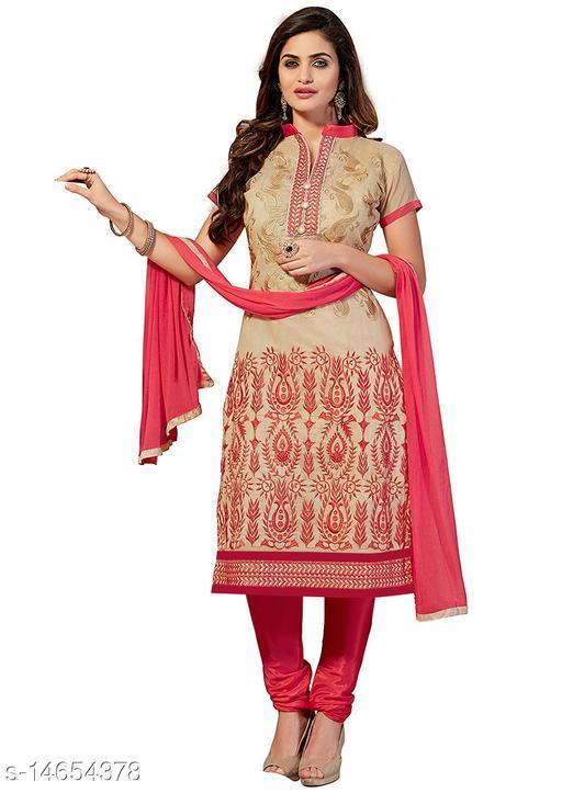 KV Fashion Women's Beige Cotton Unstitched Dress Material (EYES-CREAM-CHIKU-SUIT_Cotton_Beige)