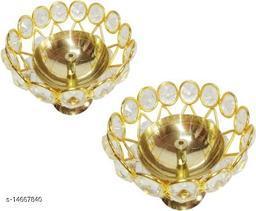 Heaven Decor Medium Brass and crystal Akhand diya  Bowl style Brass Table Diya Set of 2 (Height: 2.4 inch)