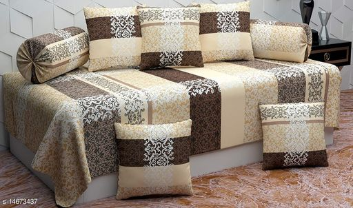 K2 PRESENTS ACE HEAVY GLACE COTTON SETS (1 SINGLE BEDSHEET WITH 2 BOLSTER COVERS WITH 5 CUSHION COVERS ZIPPER BACK)