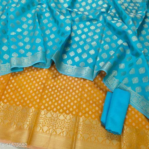 Banarsi Contrass Silk Suit (20Mustard)