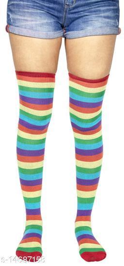 Neska Moda Women's 1 Pair Striped Cotton Thigh-High Stockings (Orange, Purple, Green, Red)