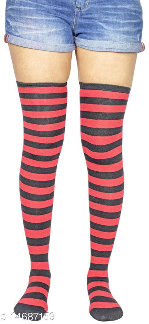 Neska Moda Women's 1 Pair Striped Cotton Thigh-High Stockings (Red, Black)