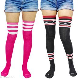 Neska Moda Women's 2 Pair Striped Cotton Thigh-High Stockings (Black, Pink)