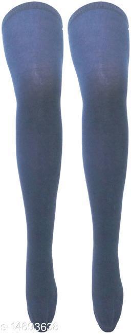 Neska Moda Women's Navy Plain Cotton Thigh-High Stockings