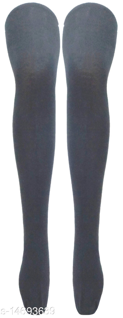 Neska Moda Women's Black Plain Cotton Thigh-High Stockings