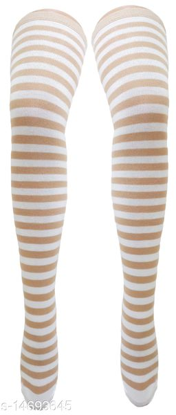 Neska Moda Women's Beige And White Striped Cotton Thigh-High Stockings