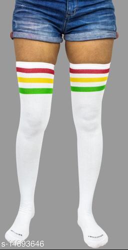 Neska Moda Women's 1 Pair White Striped Cotton Thigh-High Stockings