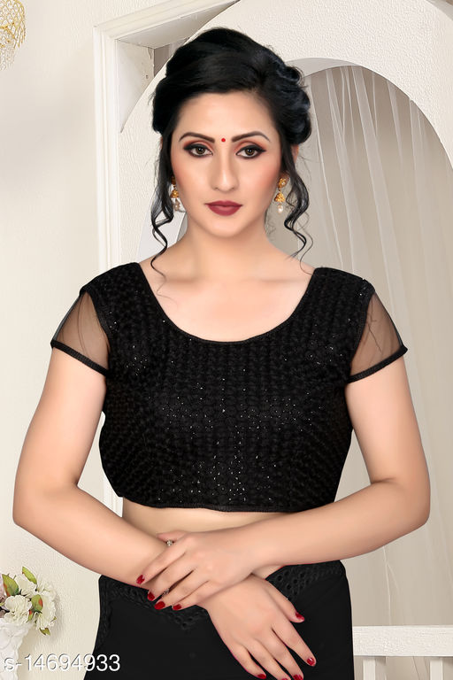 Bhavyam Women's Sequence Embroidered Black Silk Blouse With Round Neck  ( BL-20012-Black )