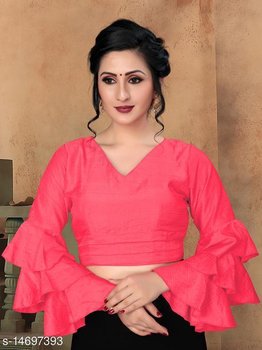 Bhavyam Women's Peach Silk Blouse With V Neck  ( BL-20013-Peach )
