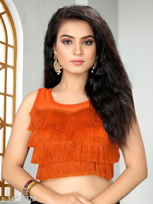Bhavyam Women's Ruffle Orange Silk Blouse with Round Neck ( BL-20010-Orange )