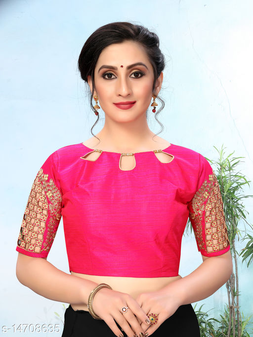 Bhavyam Women's Embroidered Pink Phantom Silk Blouse With Round Neck (BL-20053-Pink)_Free_Size