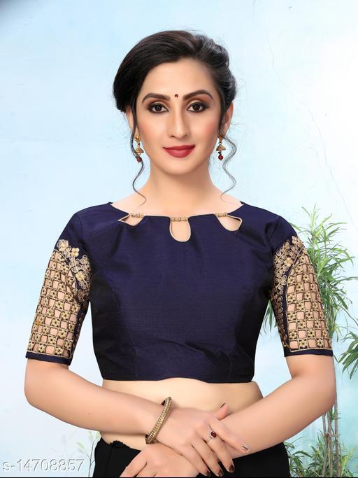 Bhavyam Women's Embroidered Navy Blue Phantom Silk Blouse With Round Neck (BL-20053-Navy_Blue)_Free_Size