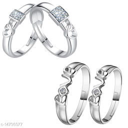 Silver Shine Adjustable Party Wear Couple Rings Set for lovers Silver Plated Solitaire for Men and Women 2 Pair