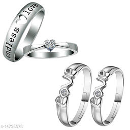 Silver Shine Silver Plated Adjustable Couple Rings Set for lovers Solitaire for Men and Women 2 Pair