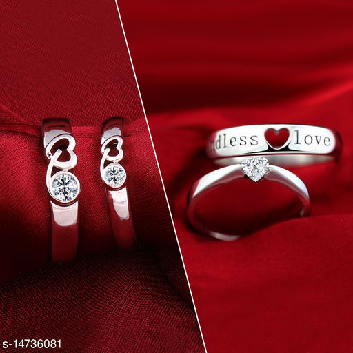 Silver Shine Party Wear Adjustable Couple Rings Set for lovers Silver Plated Solitaire for Men and Women 2 Pair