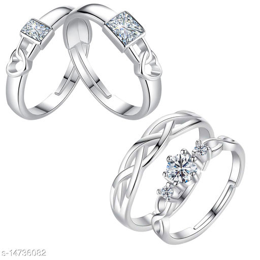 Silver Shine Adjustable Couple Rings Set for lovers Silver Plated Party Wear Stylish Solitaire for Men and Women 2 Pair