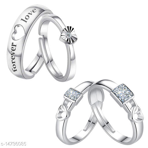 Silver Shine Designer Adjustable Couple Rings Set for lovers Silver Plated Solitaire for Men and Women 2 Pairs