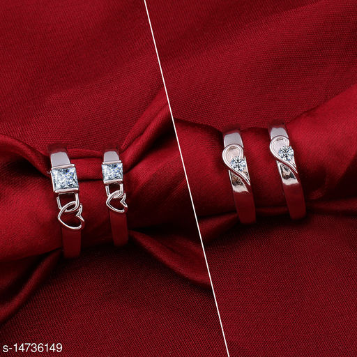 Silver Shine Designer Adjustable Couple Rings Set for lovers Silver Plated Stylish  Solitaire for Men and Women 2 Pair