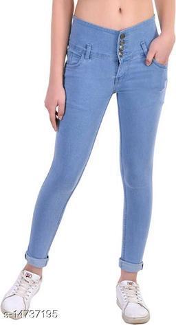 DaylForaWomen High, Waist Slim Fit, Stratchable Jeans (Light Blue)
