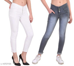 DaylForaWomen High, Waist Slim Fit, Stratchable Jeans, Combo jeans (Grey, White)