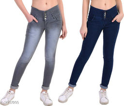 DaylForaWomen High, Waist Slim Fit, Stratchable Jeans, Combo jeans (Dark Blue, Grey)