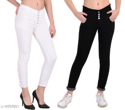 DaylForaWomen High, Waist Slim Fit, Stratchable Jeans, Combo jeans (Black, White)