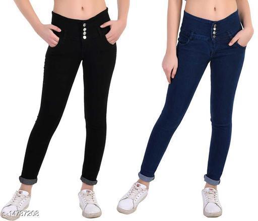 DaylForaWomen High, Waist Slim Fit, Stratchable Jeans, Combo jeans (Black, Dark Blue)