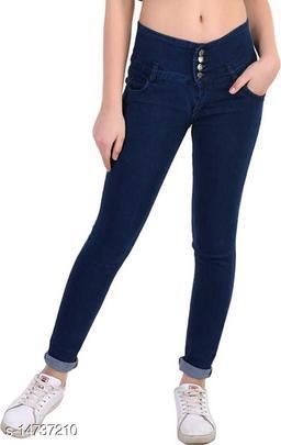 DaylForaWomen High, Waist Slim Fit, Stratchable Jeans (Dark Blue)