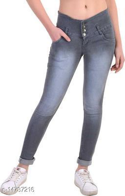 DaylForaWomen High, Waist Slim Fit, Stratchable Jeans (Grey)