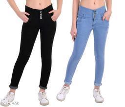DaylForaWomen High, Waist Slim Fit, Stratchable Jeans, Combo jeans (Black, Light Blue)