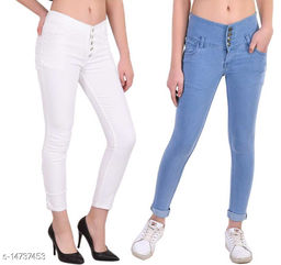 DaylForaWomen High, Waist Slim Fit, Stratchable Jeans, Combo jeans (Light Blue, White)