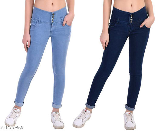 DaylForaWomen High, Waist Slim Fit, Stratchable Jeans, Combo jeans (Dark Blue, Light Blue)