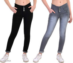 DaylForaWomen High, Waist Slim Fit, Stratchable Jeans, Combo jeans (Black, Grey)