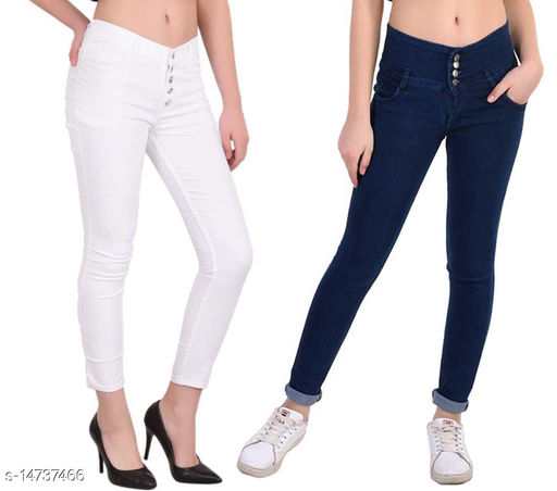 DaylForaWomen High, Waist Slim Fit, Stratchable Jeans, Combo jeans (Dark Blue, White)