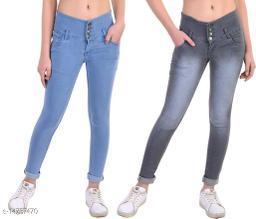 DaylForaWomen High, Waist Slim Fit, Stratchable Jeans, Combo jeans (Grey, Light Blue)