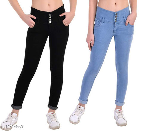 Inispire2Fashion Women High, Waist Slim Fit, Stratchable Jeans, Combo jeans (Black, Light Blue)
