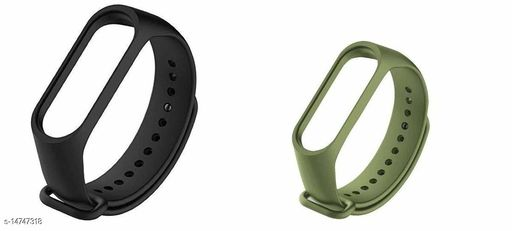 Microbirdss Black And Miltry Green Combo   Silicone M3 and M4 Band Strap for Xiaomi Mi Band 3 & Mi Band 4 Smart Band Strap