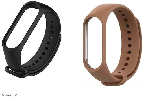 Microbirdss Black And Brown Combo Silicone M3 and M4 Band Strap for Xiaomi Mi Band 3 & Mi Band 4 Smart Band Strap