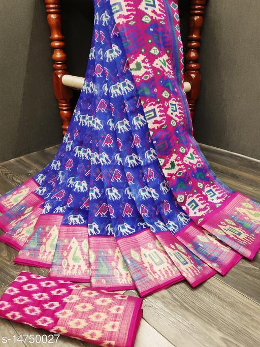 fancy Printe cotton blend saree