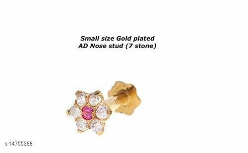 Gold plated AD stone screw nose stud / nosepin for woman and girls piercing required