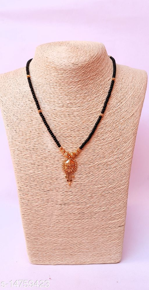 Traditional Designer Black Bead With pendal Gold Tone Dailywear Gold Plated Mangalsutra for Stylish Women