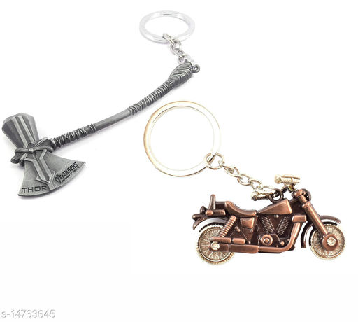Silver Avengers Axe and Bike Style Keychain Combo Best Quailty