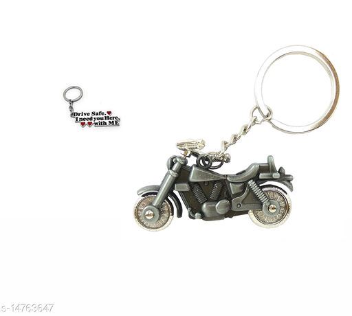Silver Bike and Big Safe Drive Keychain Combo Best Quailty