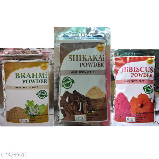OEHB 100% Organic Shikakai,Hibiscus and Brahmi Powder 300gm (Each-100gm)