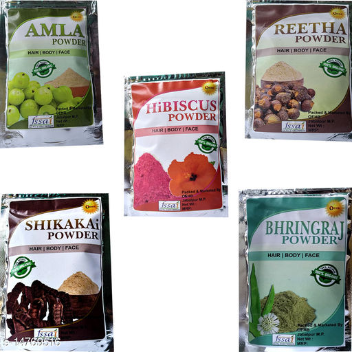 OEHB 100% Organic Amla,Reetha,Hibiscus,Bharingraj and Shikakai Powder 300gm (Each-100gm)