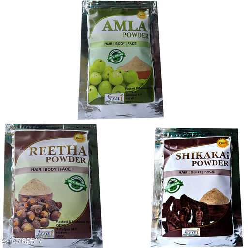 OEHB 100% Organic Amla,Reetha and Shikakai Powder 300gm (Each-100gm)