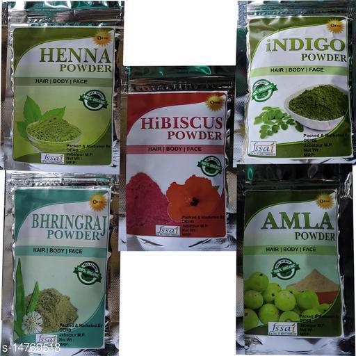 OEHB 100% Organic Amla,Henna,Bringraj,Hibiscus and Indigo Powder 300gm (Each-100gm)