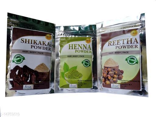 OEHB 100% Organic Shikakai,Henna and Reetha Powder 300gm (Each-100gm)