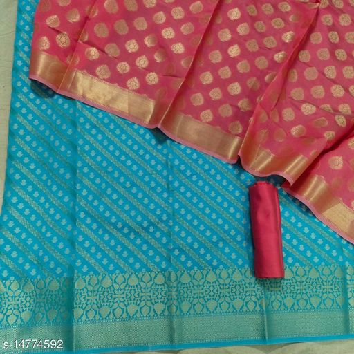 Banarsi Contrass Silk Suit (21Aqua Blue)