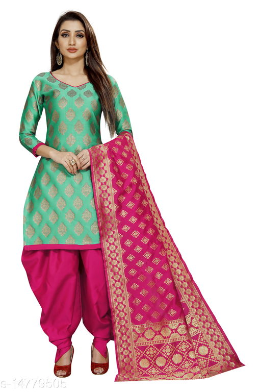 Traditional weaves brocade banarasi silk rama colour unstitched dress material